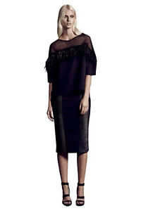 Ginger & and Smart: Irradiate Pencil Midi Bodycon Skirt in Black, Size 6 $399