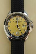 Stuhrling Original Mens Watch Gold Black Dial Red Minute Indicators Black Band