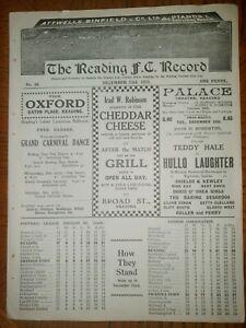 RARE PRE WAR PROGRAMME READING v SWINDON TOWN 23rd DECEMBER 1933