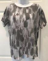 GAP NWT Gray Burnout T-Shirt Top Size XS Semi-Sheer Camo Short Sleeve Tee