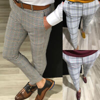 Men's Urban Straight Leg Trousers Casual Pencil Jogger Cargo Plaid/Checks Pants