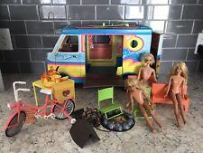 Vintage 1970s Barbie Beach Bus Surf Van Skipper Barbies Accessories Bike