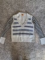 NEW WITHOUT TAGS Tory Burch V-Neck Beige/Brown Striped Sweater Size M