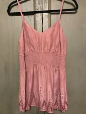 Old Navy Maternity Mauve Dusty Pink Sequin Beaded Top Size L Spaghetti