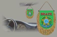 BRAZIL REAR VIEW MIRROR WORLD FLAG CAR BANNER PENNANT