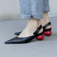 Womens Genuine Leather Pointy Toe Pumps Oxfords Mid Heel Party Slingback Shoes