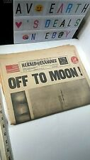 """Apollo Moon landing Saturn V 1969 """"Off to Moon"""" Newspaper as shown Instant Ship"""