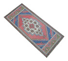 Kitchen Decor Rug Hand Knotted Entryway Mat Faded Small Rug Bath mat 1.8x 3.7 ft