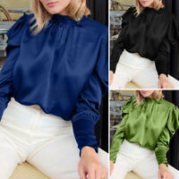 Women Office OL High Neck Puff Sleeve Shirt Cocktail Party Tops Blouse Plus Size