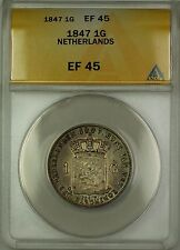 1847 Netherlands 1G Gulden Silver Coin ANACS EF-45