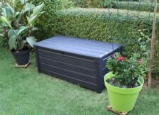 More details for keter brightwood anthracite xl size 454l waterproof garden storage bench box
