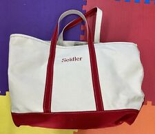 LL Bean Boat and Tote XL Canvas Bag Extra Large Regatta Red Monogram Seidler