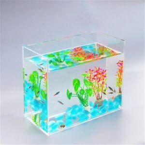 MINI Aquarium Fish Tank Blue Stone Fake Plant Small Desktop Tank FREE SHIPPING