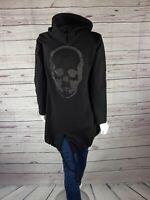 Damen Jacke Überwurf Totenkopf Schwarz One Size Neu Trend 36-40 Pullover