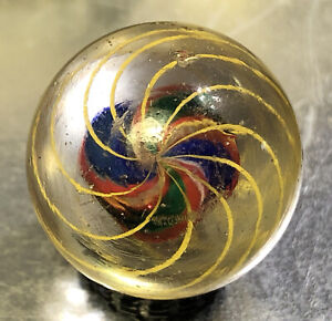 """Antique German Caged Divided Ribbon Core Swirl Marble, Just Under 1"""" (.97) Look"""