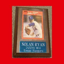 Nolan Ryan  Plaque w/ Donruss 1990 Card  300th WIN  Texas Rangers