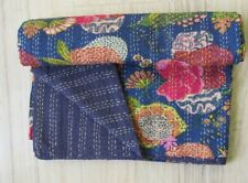 Handmade Cotton Kantha Quilt Bohemian Bedding Gudari Reversible Throw Blanket