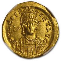 Eastern Roman Gold Solidus Leo I (457-474 AD) AU NGC - SKU#179344
