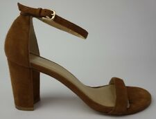 Stuart Weitzman NearlyNude Ankle Strap Sandal Brown Suede Size 7 M