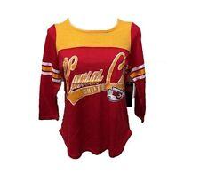 G-III Sports Kansas City Chiefs Womens Shake Down Short Sleeve V-Neck Lace T-Shirt