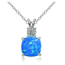 Sterling Silver Created Blue Opal and Diamond Accent Cushion-cut Necklace