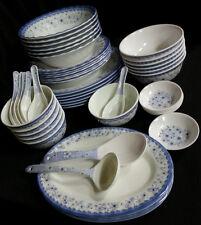 46 Piece Melamine Plastic BLUE Dinner Gift Set Serving Bowl Plate Platter Spoon