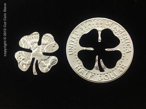 Golf Ball Marker Good Luck Four-Leaf 4 LEAF Clover Cut Coin 50¢ Half Dollar