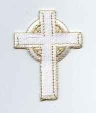 Religious White/Gold Celtic Cross - Iron on Applique/Embroidered Patch