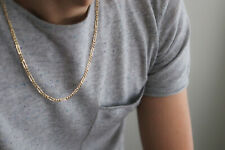 """Solid 14K Yellow Gold Italy Figaro Chain Link Pendant Necklace 20"""""""