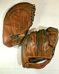 VINTAGE LOT - 2 Baseball Gloves - Rawlings 'Playmaker' and Hutch 'Mize Model'