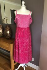 ❤️ Jasper Conran Dress Pink Chevron Cold Shoulder Dress size 12 New Tags Rrp £59