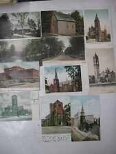 11 Postcards Post Cards Massachusetts Pittsfield Lowell Boston Churches Views