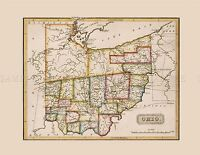 MAP ANTIQUE LUCAS 1814 GENERAL ATLAS OHIO OLD LARGE REPLICA POSTER PRINT PAM1021