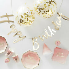 16 PERSON PINK & GOLD PARTY PACK Party in a Box Cups Napkins Plates Hats & Decor