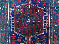 4x6 HERIZ PERSIAN RUG ANTIQUE HAND KNOTTED RUGS red oriental geometric blue 4x7