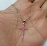 925 Sterling Silver Pink Cz Cross Pendant Necklace