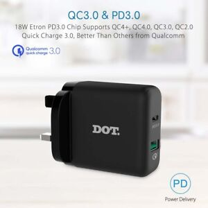 36W QC 4.0 PD Power Fast Wall Plug Charger With Cable For Huawei Samsung Xiaomi