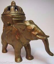 Antique 1920s Vantines Elephant Incense Burner art deco orig old gold paint