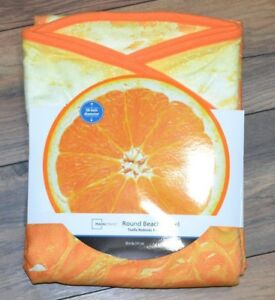 "Tangerine Orange Citrus Fruit 58"" Round Beach Towel or Pool Towel New With Tags"