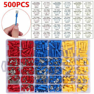 500Pc Electrical Wire Terminals Assortment Set Insulated Crimp Connectors Spade