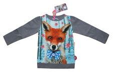 Grey T-Shirt Fox with Bow Flowers Trees Long Sleeve 98-104 EU (2-4 Years) NWT