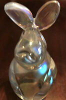 Art Glass BUNNY RABBIT Paperweight Figurine Iridescent Rainbow White Spatter