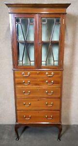 Edwardian Inlaid Mahogany Display / China Cabinet