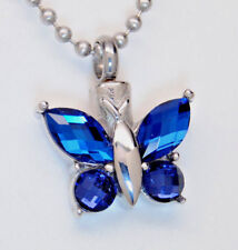 Sapphire Blue Color CZ Butterfly Cremation Urn Necklace    September Birthstone