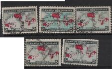 Canada 1898 Map SG 167/9 lot of 5 stamps VFU (5axu)