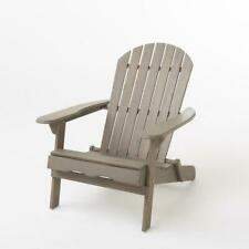 Adirondack Chair Armchair Outdoor Patio Garden Furniture Deck Folding Wood Grey