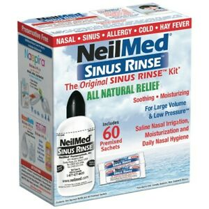 NeilMed Sinus Rinse Kit + 60 Premixed Sachets Natural Saline Nasal Irrigation