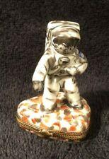 Limoges Astronaut Moonwalker on Moon Trinket Box France Nasa