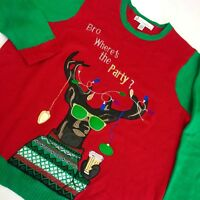 Jolly Men COOL REINDEER w BEER Ugly Christmas Sweater Holiday PARTY Shirt XL