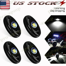 4x White Led Rock Lights 9W For Jeep Offroad Truck Atv Utv Underbody Wheel Light